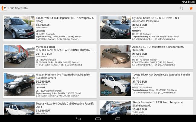 Fahrzeuge, die Ihrem Suchprofil entsprechen, werden in der mobile.de übersichtlich angezeigt.