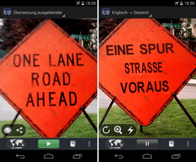 """Die App """"Word Lens"""" ist in der Lage, Beschriftungen beispielsweise von Straßenschildern zu übersetzen und in das Kamerabild einzublenden."""