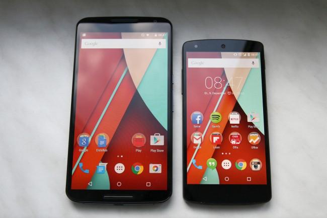 Dass Google das Nexus 5 (rechts) auch weiterhin anbietet wird, ist aufgrund der sehr unterschiedlichen Gehäuse-Dimensionen durchaus verständlich.