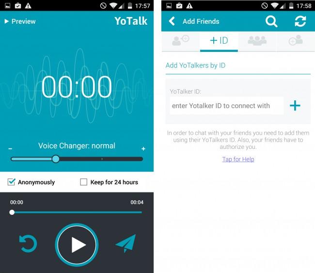 Nachdem du eine Nachricht aufgezeichnet hast, kannst du deine Stimme noch verändern und dann an einen Kontakt schicken.
