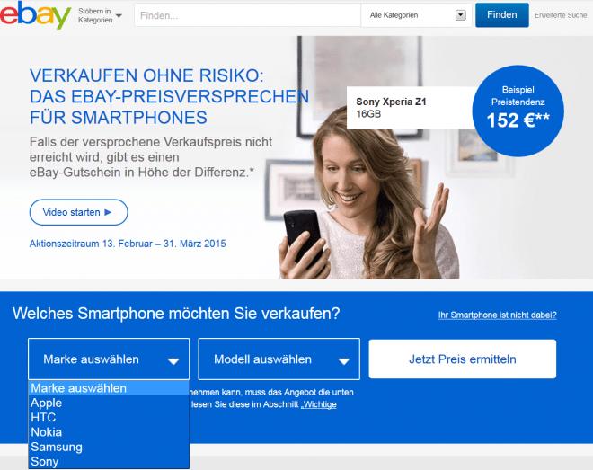 """Auf der Web-Seite der Aktion """"eBay-Preisversprechen für Smartphones"""" erfährst du, wie viel du für dein gebrauchtes Smartphone erhältst."""