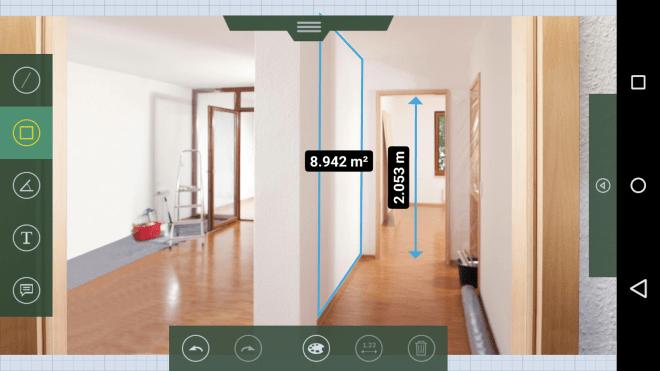 Gemessene Werte und sogar errechnete Flächen können in ein Foto des Raums eingetragen werden.