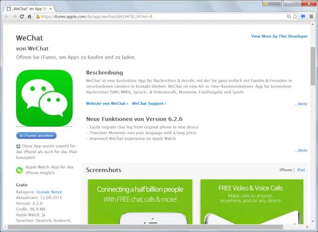 Eines der Opfer des XcodeGhost-Angriffs ist die Messenger-App WeChat, die weltweit über 500 Millionen Anwender hat. Der App-Hersteller Tencent hat die infizierte Version seiner Software inzwischen durch eine nicht befallene Version ersetzt.