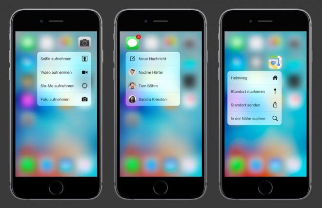 Das iPhone 6s macht vor, wie sich ein drucksensitiver Bildschirm perfekt ins System integrieren lässt. (Bild: Apple)