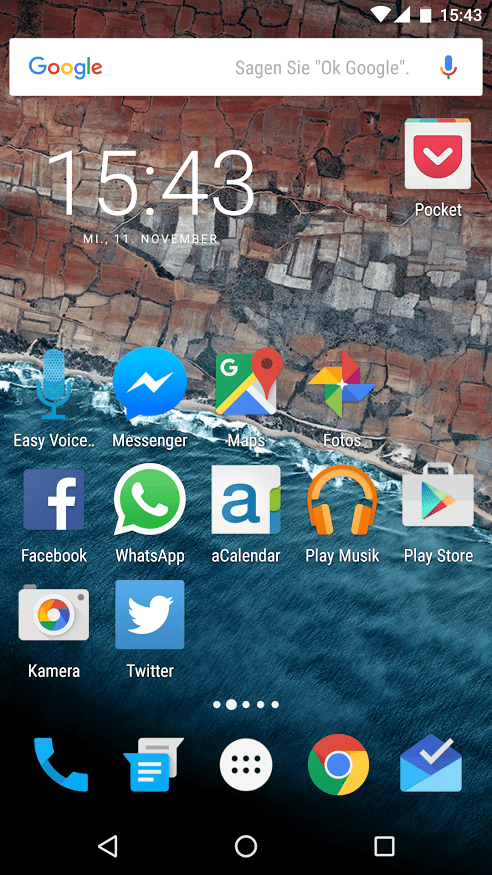 War das App-Raster beim Nexus 5 noch auf 4x4 Apps beschränkt, haben beim Nexus 5X nun 5x5 Symbole auf den Homescreen Platz.
