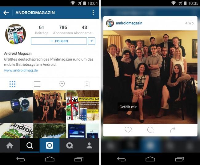 Bei der neuesten Version der Instagram-App ist es möglich, durch langes Antippen des Bildschirms ein Vorschaubild des ausgewählten Fotos erscheinen zu lassen.