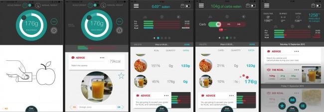 """Die Ernährungsüberwachungs-App """"DietSensor"""" greift auf eine Datenbank mit über 600.000 Lebensmitteln zurück. (Bildschirmfotos: DietSensor)"""