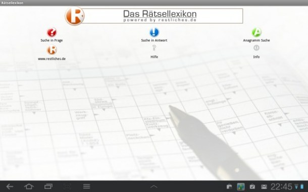 Hier das Hauptmenü der App.