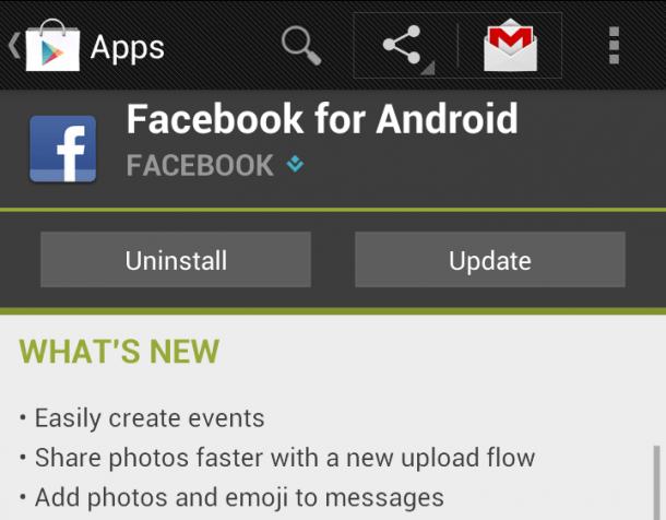 Die Facebook App für Android hat ein Update bekommen. Foto: Androidtaskforce.com.
