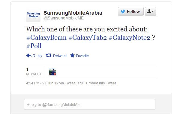 Samsugn Mobile Arabia hat die Nutzer gefragt auf welche kommende Geräte Sie sich am meisten freuen, das Galaxy Tab 2, das Galaxy Note 2 oder Foto: Twitter.com.