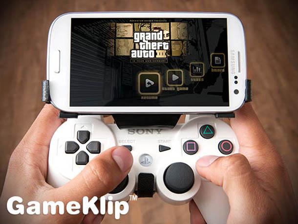 Gameklip macht aus einem PS3-Controller ein Gamingpad für das Smartphone, komfortablen Spielvergnügen steht somit nichts mehr im Wege. Foto: Gameclip.