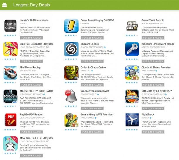Top-Apps werden im Google Playstore am längsten Tag des Jahres vergünstigt abgegeben.