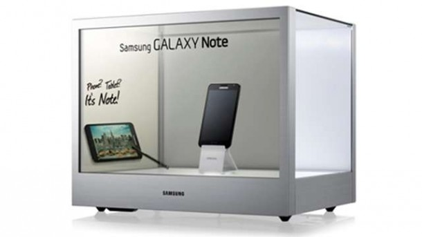 Das transparente Samsung Display soll vor allem für Kommerzielle Zwecke interessant sein. Foto: tech2.in.com.