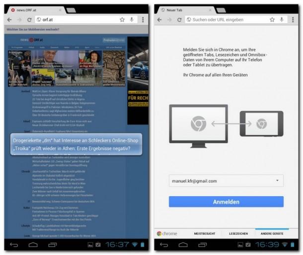 Chrome zoomt automatisch in die Seite, um die Auswahl zu erleichtern.