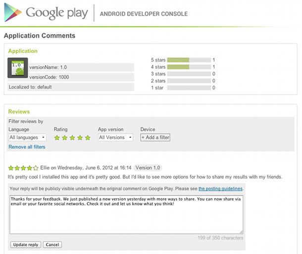 App Entwickler auf Google Play können nun auf Bewertungen von Nutzern antworten. Foto: Android Developers Blog.