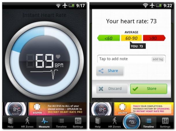 """Die App Instant Heart Rate informiert Sie über Ihre gegenwärtige Herzfrequenz. Die """"Share""""-Funktion lässt sie diese Messergebnisse bequem in soziale Netzwerke für Ihre Freunden verteilen."""