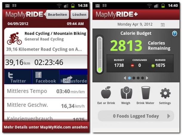 Die Anwendung errechnet aus der Zeit und den zurückgelegten Kilometern eine Durchschnittsgeschwindigkeit. Was die App von der Konkurrenz abhebt, ist die Ermittlung des täglichen Energiebedarfs und -budgets.