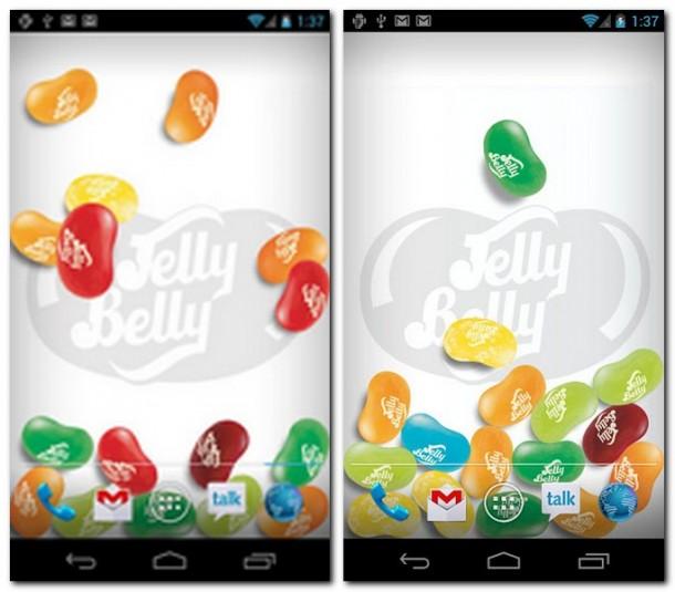 Jelly Belly Jelly Beans Jar lässt Geleebohnen auf der Startseite Ihres Smartphones erscheinen. In diesem Fenster legen Sie das Aussehen der Bohnen und des Hintergrunds sowie die Stärke der Schwerkraft fest.