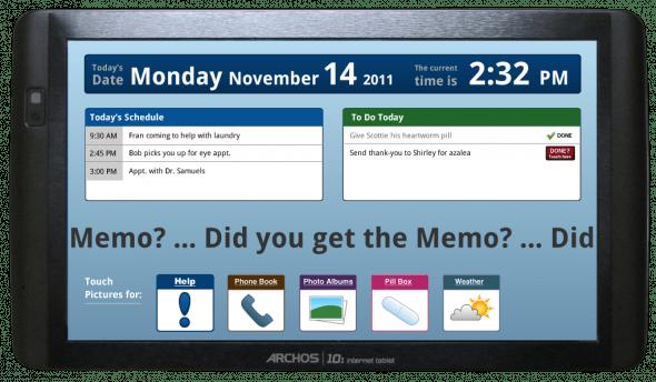 An Demenz leidende Benutzer sehen auf der Startseite auf einen Blick, welche Termine und Tätigkeiten sie an diesem Tag erwarten. (Foto: Memotouch.com)