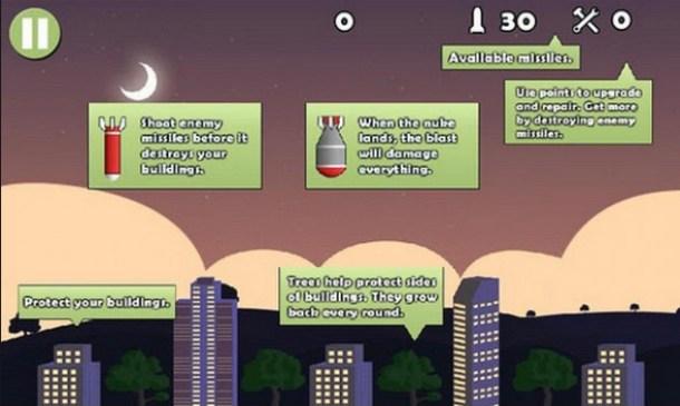 Ziel des Spiels ist es die Raketen abzuschießen bevor diese in ein Gebäude einschlagen.
