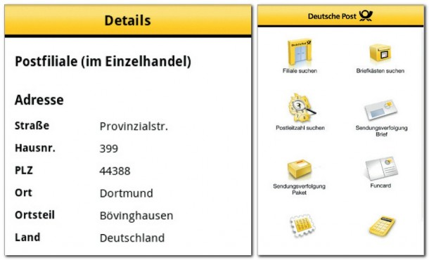 Informationen zu den nächstgelegenen Postfilialen und alle Services der Post auf dem Smartphone.