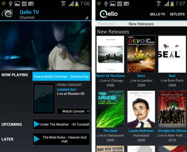 Bei Qello TV gibt es laufend Konzertausschnitte sowie Musikdokumentationen zu sehen.