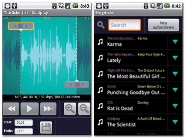 Das ist die Audiospur des gewählten Titels. Ausgewählte Audiodaten lassen sich als Klingelton, Weckton oder Benachrichtigungston festlegen.