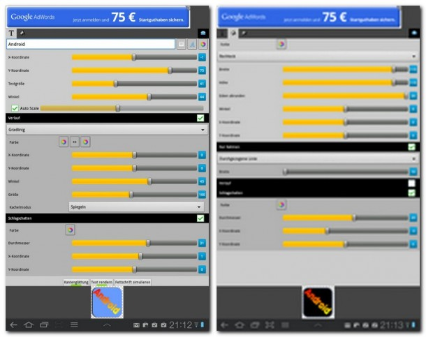 Mit Simple Text lassen sich sehr ansehnliche Icons erstellen, die auch auf HD-Bildschirmen wie dem des Galaxy Nexus gut zur Geltung kommen. Die Menüs könnten zwar noch etwas optischen Feinschliff vertragen, immerhin werden aber sehr viele Modifikationsmöglichkeiten geboten.