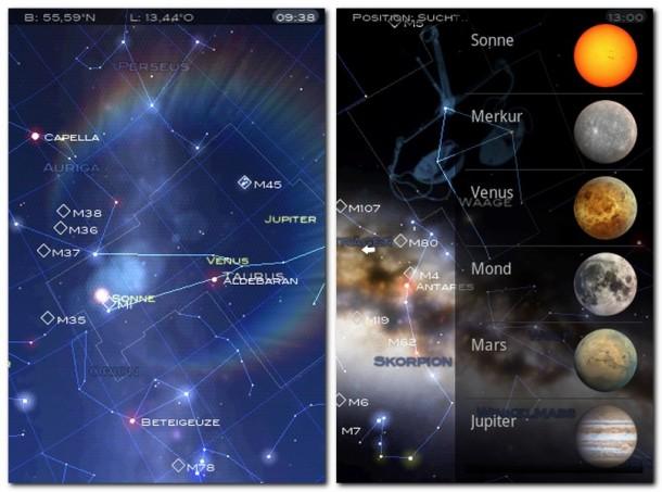 Die App Startchart kennt etwa 5000 Sterne und Planeten unseres Sonnensystems.