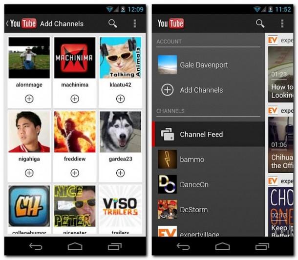 Mit der neuen Youtube Anwendung für Android will Google die Kanäle stärker in den Mittelpunkt rücken. Foto: Google Play.