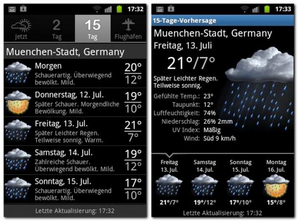 Die Infos, die diese App liefert gehen weit über Temperatur und Luftdruck hinaus.