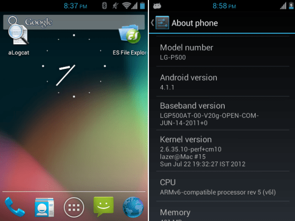 Install Jelly Bean 4.1.1 ROM (Working Camera) on LG P500 optimus one [Cyanogenmod 10]