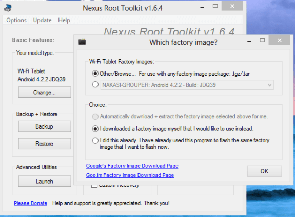 Nexus 7 Root Tool Kit Flash Stock Choose Firmware