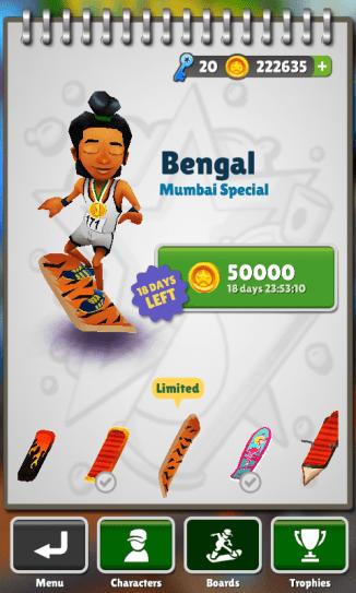 Subway Surfers Mumbai Unlock Bengal Board