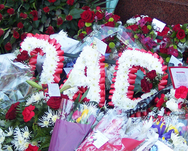 Flowers at the Hillsborough memorial