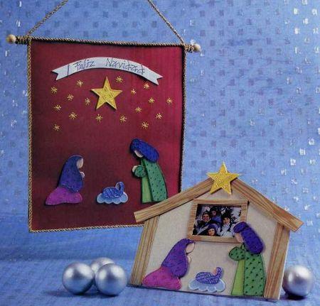 portarretrato y estandarte navideño