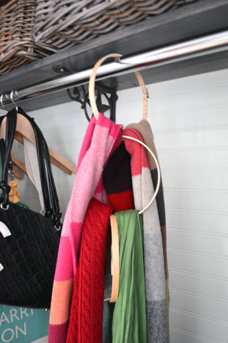 Scarf Organizer Made From Embroidery Hoops