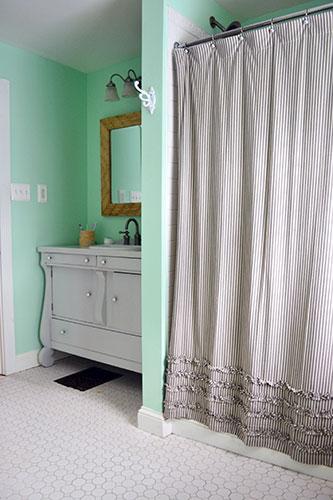 Wood Tiled Bathroom Mirror