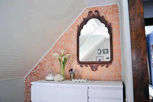 Copper Roses Stenciled Accent Wall