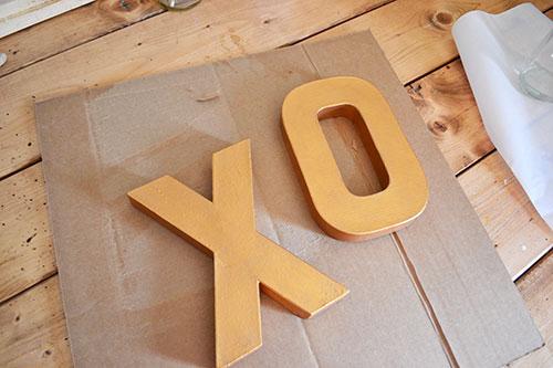 Paint XO Cardboard Letters Gold