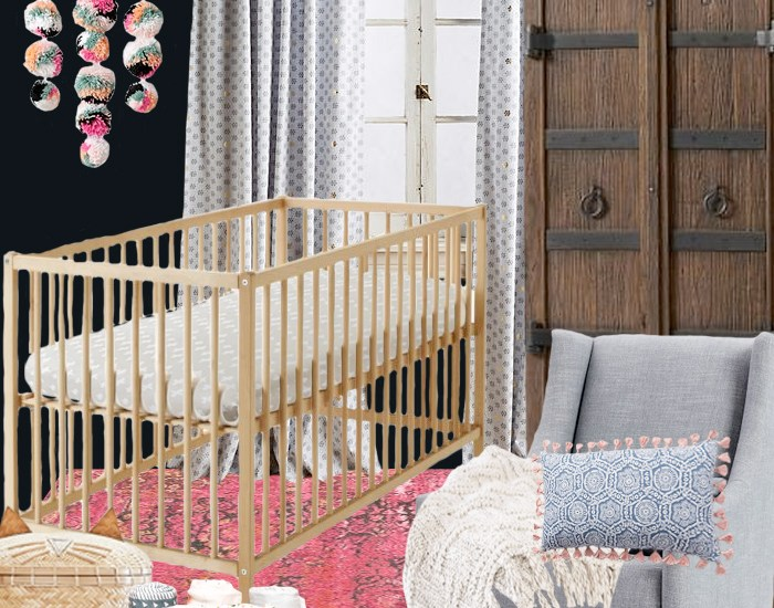 Adding accessories to a gender neutral nursery base for a girl nursery design plan