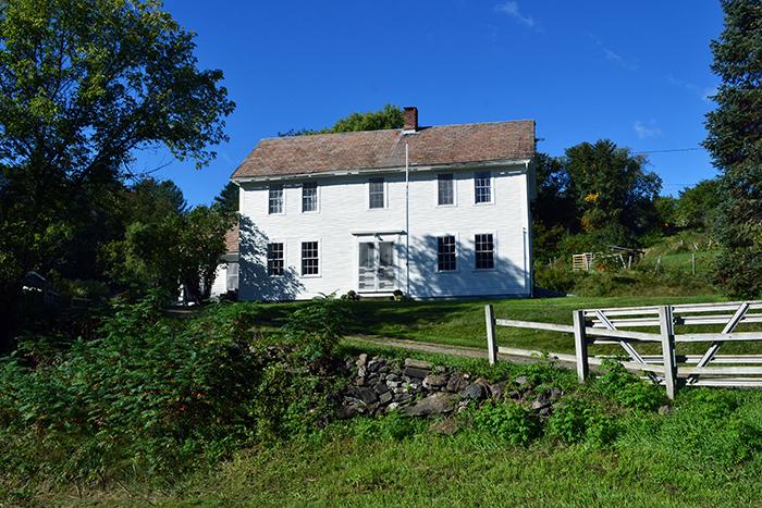 A circa 1781 white colonial farmhouse in Vermont