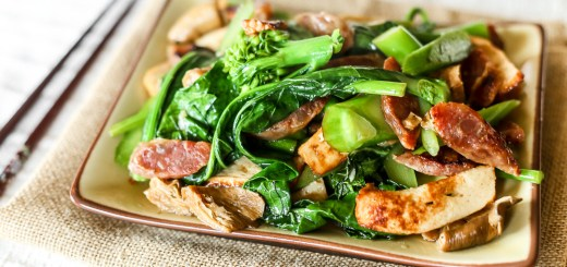 Stir-fried Gai Lan with Fish Cake & Lap Cheong Wide