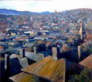 Sunday Morning, Launceston (50 x 53 cm) - $1400 (SOLD)