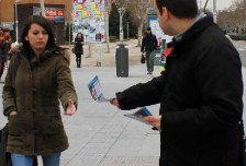 Leafleting in Madrid