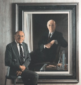 New York Blood Center founder Aaron Kellner,  M.D.,  at retirement in 1989 with portrait as he appeared in 1964.