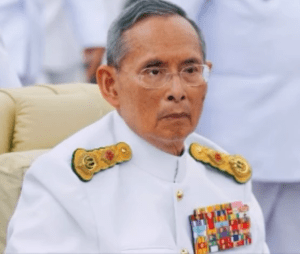 Thai King Bhumibol Aduladej in military uniform.