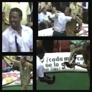 These stills from a 2008 YouTube video show Pedro Martinez, in white shirt, and Juan Marichal, in green shirt, pitting gamecocks against each other.