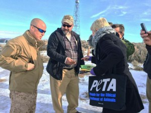 PETA delivering vegan jerky to Malheur National Wildlife Refuge occupiers. (PETA photo.)