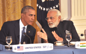 U.S. president Barack Obama at bull session with Indian prime minister Nahrendra Modi. (Facebook photo)